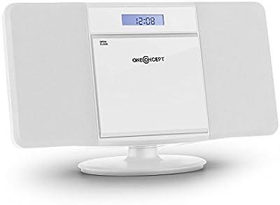 oneConcept V-13 Cadena estéreo CD MP3 USB (Sintonizador radio FM, altavoces, mando distancia, despertador, reproductor CD, apto montaje mural)