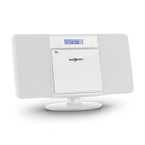 oneConcept V-13-BT • Stereoanlage • Kompaktanlage • Microanlage • mit Bluetooth • MP3-fähiger CD-Player • LCD-Display • MP3-fähiger USB-Port • Ordnernavigation • AUX-IN • UKW-Radiotuner • Wecker • Fernbedienung • Bass-Boost • Wandmontage • weiß