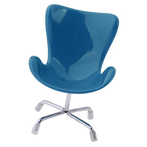 1/6 Puppenhaus Miniatur Möbel Mini Stuhl Bürostuhl Schreibtischstuhl Modell - 11 x 15 cm - Blau
