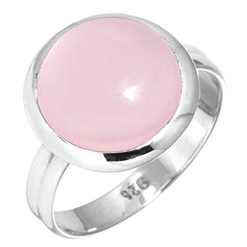 Jeweloporium Natürliche Rose Quarz Frauen Schmuck 925 Sterling Silber Ring Größe 61 (19.4)
