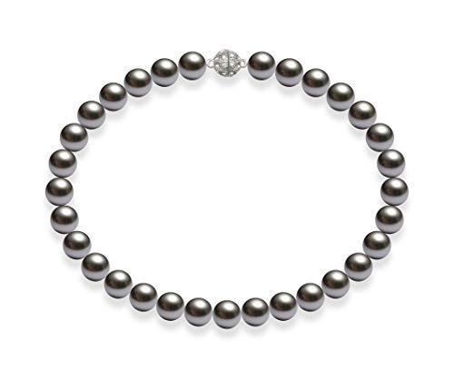 Schmuckwilli Damen Muschelkernperlen Perlenkette Grau Magnetverschluß echte Muschel 45cm dmk3015-45 (14mm)