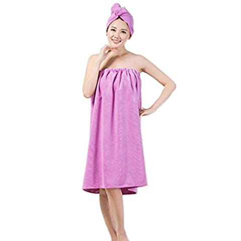 Bath Wrap Women, Women Ladies Microfiber Super Absorbent Bath Skirt Towel Warp Adjustable Closure on Chest Elastic Back Spa Shower Bathing Wrap with Hair Towel Hair Dry Hat, One