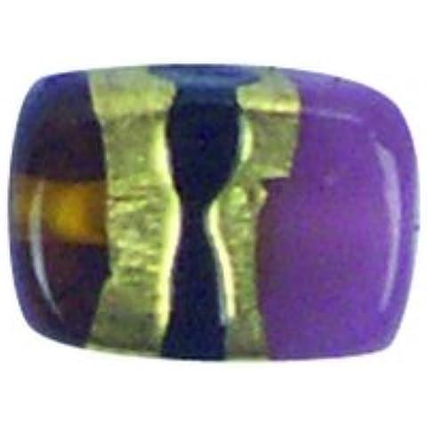 Perle di vetro rettangolo mora-multicolore, 14 x 10 x 5 mm