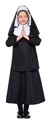 MOMBEBE COSLAND Mädchen Nonne Kostüme Kleid (Schwarz, XL) (Nonne Kostüm Für Kinder)