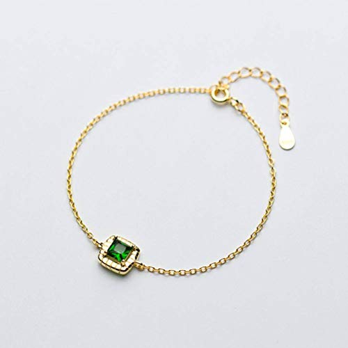 Golden_flower S925 Silber Armband Frauen Koreanische Einfache Gold Quadrat Smaragd Diamant Armband Persönlichkeit Temperament Schmuck, S925 Silberarmband, 925er Silber (Smaragd-schmuck Für Frauen)