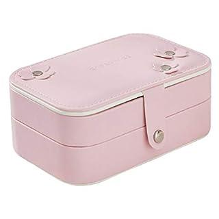 ACMEDE Mini Reise Schmuck Aufbewahrungsbox, Kleine Schmuckschatulle Schmuckkästchen mit Zwei Schichten, für Frauen Mädchen