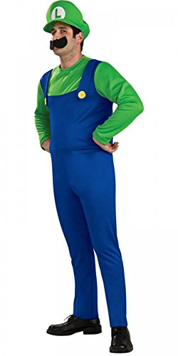 Herren-Kostüm LUIGI Super Mario Bros. BLAU/GRÜN, (Deluxe Kostüme Brothers Erwachsene Herren Mario Luigi)