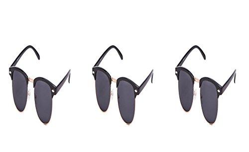 Ciffre 3 er Set EL-Sunprotect Classic Optik Sonnenbrille - UV400 Brille Premium Qualität - Schwarz Gold Smoke Dunkle Glässer