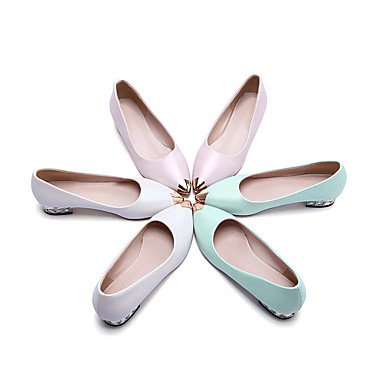 LvYuan Damen-Sandalen-Hochzeit Outddor Büro Kleid Lässig Party & Festivität-Kunstleder-Niedriger Absatz-Komfort Leuchtende Sohlen-Blau Weiß White
