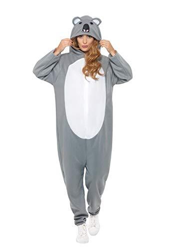 Luxuspiraten - Damen Frauen Kostüm Plüsch Koala Bär Bear Fell Einteiler Onesie Overall Jumpsuit, perfekt für Karneval, Fasching und Fastnacht, M, Grau
