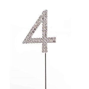 Gifts 4 All Occasions Limited SHATCHI-792 - Decoración para tarta (número 4), diseño de diamantes, color plateado