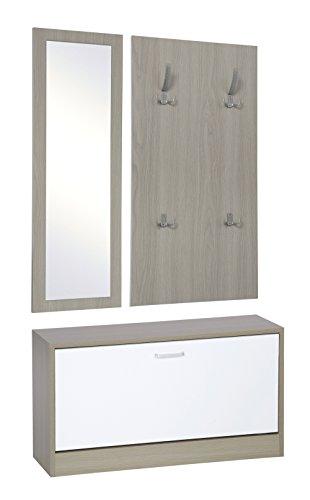 Ts-ideen set di 3 pezzi guardaroba da parete specchio scarpiera panca legno di quercia chiaro