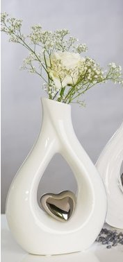 Casablanca Vase weiss (Rot Vase Glas Herz)