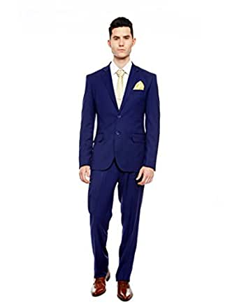 Men Royal blue Slim Fit Single-Breasted Formal Suit: Amazon.in ...