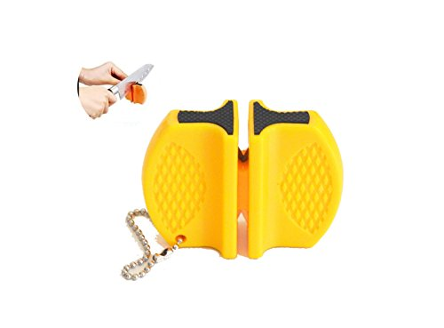 Kerafactum® knife sharpener - 2 sides knife sharpener ceramic and metal sharpener knife sharpener with sharpening steel - ideal for camping leisure outdoor (yellow)