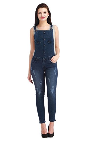 Jubination Girls Damaged and Repaired Skinny Fit Classic Blue Denim Dungaree Jeans