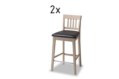 Furnhouse Texas Bar Stuhl Set Von 2, PU Sitz, Eiche Beine, L44xB45xH93 cm Esszimmerstuhl, massiv furniert, Seifen-Finish, L44x B45x H93