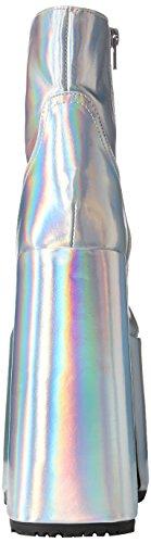 Demonia SLAY-204 Slv Hologram Vegan Leather