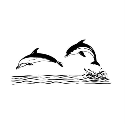 Lsfhb 59X131 Cm Doppel Dolphin Wandaufkleber Ausgangsdekor Badezimmer Fliesen Wandaufkleber Vinyl Abnehmbare Wandtattoos Wasserdichte Kunst Aufkleber