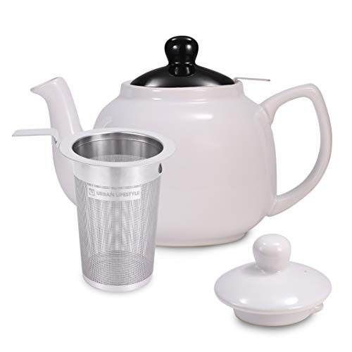 Urban Lifestyle Teekanne/Teapot Klassisch Englische Form aus Keramik mit Nicht-tropfendem Ausguss Oxford 1,2L mit Teefilter aus Edelstahl (Weiß)