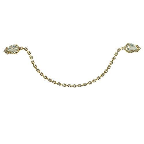 Strickjacken-Clip, Gold-Ton, Kristall, mit Geschenk-Box