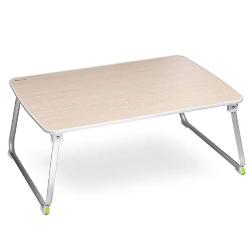 Salcar Stabiler Laptop Betttisch 70 * 50cm Verstellbarer Lapdesk, tragbarer Laptop-Tisch, Laptopständer für Frühstücks, Notebook, Bücher, Minitable, Bett Tablett - Holzfarbe