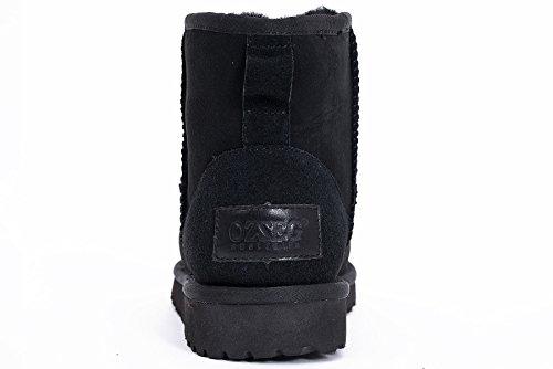 OZZEG En peau de mouton bottes d'hiver mode cheville masculine conçue Noir