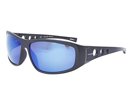 Chopard Sonnenbrillen (SCH-194 U28B) matt schwarz - bedruckt blau - grau polarisierte mit blau verspiegelt effekt