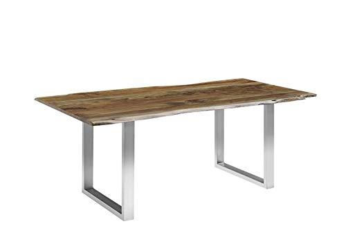 MASSIVMOEBEL24.DE Massiv Esstisch Baumkante Baumtisch Akazie 220x100x76 grau Beine Silber Freeform 3