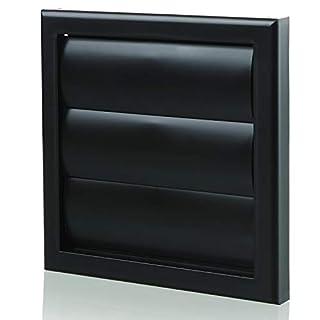 Blauberg UK Decor 185X185/125G Black 5 inch 125 mm Round Plastic Ducting and Fittings for Extractor Fan Ventilation Shutter Flaps-125mm-Black, Gravity Shutter-125Mm-Black, 125mm