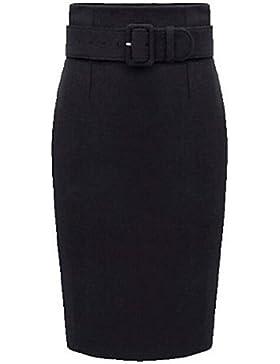 Mujer Tallas Grandes Faldas,Corte Bodycon Un Color Separado Tiro Alto Hasta la Rodilla Poliéster Micro-elástica...