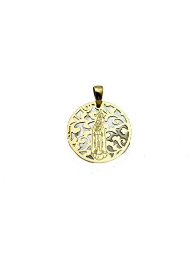 Medalla Virgen de Fátima en Plata de Ley Cubierta de Oro de 18kt y nácar