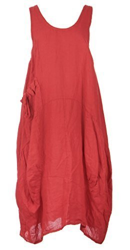Vestito a tunica senza maniche da donna, in stile Lagenlook italiano, con tasche sui 2 lati, in lino, misura unica di tipo Plus size (46-52) Rosso