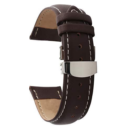 cinturino 20mm mens orologi cinturino in pelle fibbia pieghevole sostituzio