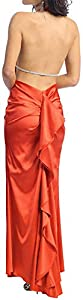 Abendkleid rückenfrei Strassband kurze Schleppe mit Volant Neckholder Abi-Ballkleid Hollywood-Style Promi-Look lang orangerot Charmeuse-Satin Größe 40