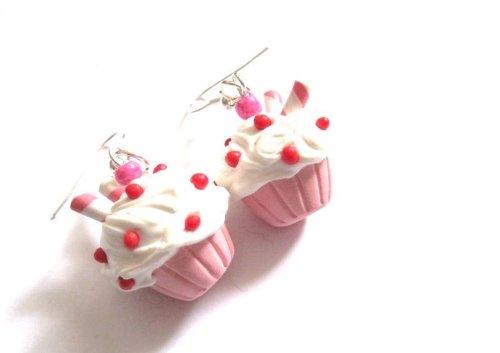 Törtchen Ohrringe Ohrschmuck Ohrhänger Cupcake handmade rosa-weiss Modeschmuck