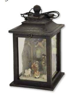 Lanterna macchiato con la sacra famiglia e pecore 22x22x39, 6 centimetri