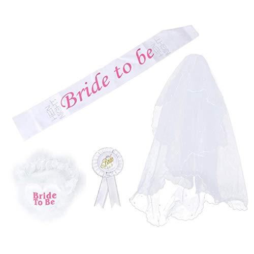 Bomcomi 4 pezzi/set sposa di essere bianco rosette mantilla distintivo sash giarrettiera veil hen night party