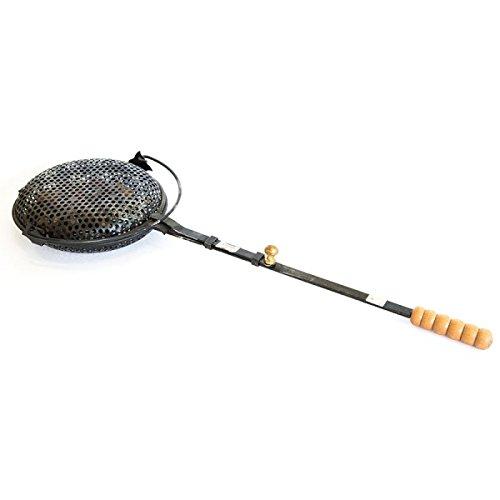 Pfanne für Kastanien von Maronen in Eisen mit Griff aus Holz-Kamin Groß