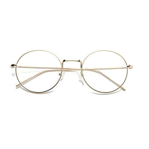 Sakuldes Round Eyewear Brillengestell Brillengläser Unisex Stilvolle Brillen ohne Rezept (Color : Gold)