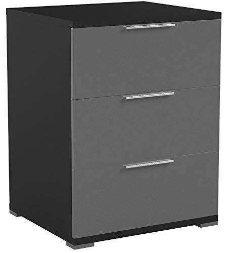 Vicco Nachtschrank Kommode Nachttisch Schrank Schublade Ablage Schlafzimmer (Schwarz Hochglanz)