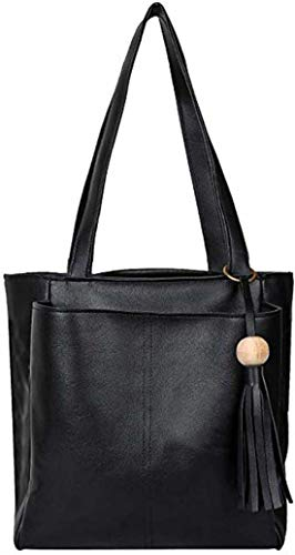 genric Naaz Collections Women's Rexine Handbag (Black)