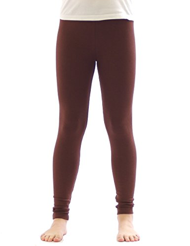 yeset Kinder Mädchen Thermo Leggings Fleece Hose lang Leggins aus Baumwolle braun ()
