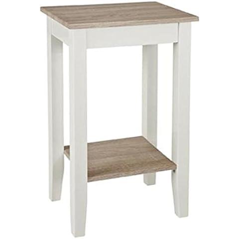 Consola de madera DM, estructura en color blanco brillante, estante elaborado en haya clara (roble Sonoma), haku 51247