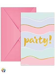 Procos invitaciones con sobre Elegant Party, Multicolor, 5pr89263