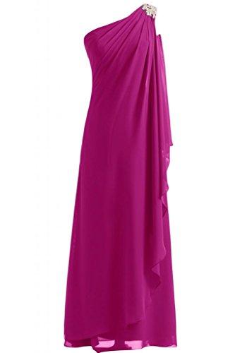 Gorgeous Bride Schlicht Ein-Traeger Etui Chiffon Lang Brautjungfernkleid Abendkleid Abendmode Fuchsia