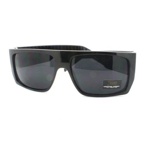 JuicyOrange Locs Sonnenbrille Flat Top-Platz Gangster Mob Fashion Shades 5.625w x 1.875h Schwarz