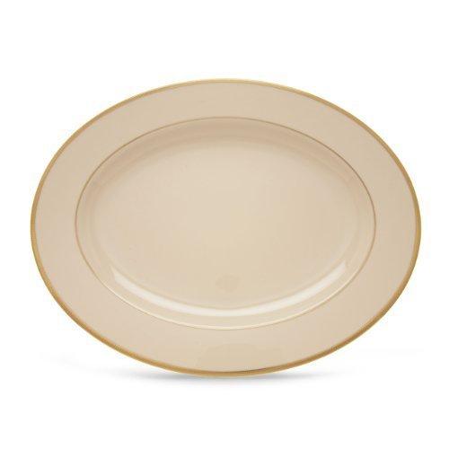 Lenox Tuxedo Platinum Ivory China 16-Inch Oval Platter by Lenox Lenox Tuxedo Platinum Ivory China