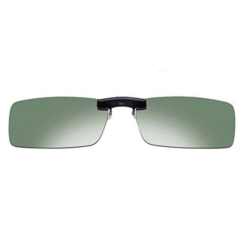 Tukistore Clip auf Sonnenbrille Flip Up Polarisierte Sonnenbrille Brillen Nachtsicht Gläser Blend Polarisiert für Männer Frauen Frameless Rechteck Objektiv
