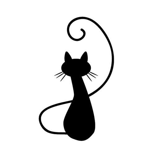 Cat Kitty Silhouette Sitting Vinyl Decal Window Sticker Car Wall Laptop, Die Cut Vinyl Decal for Windows, Cars, Trucks, Tool Boxes, laptops, MacBook - virtually Any Hard, Smooth Surface -